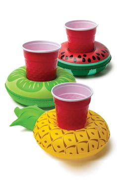 Heading to the pool with this trio of floating drink holders.