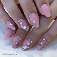Soft Nails, Fancy Nails, Pink Nails, Cute Nails, Gel Nails, Girls Nail Designs, Long Nail Designs, Toe Nail Art, Glitter Nail Art