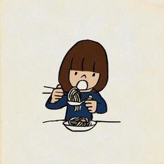 #焼きビーフンをレンゲに乗せて食べる #友達のまね  #イラスト