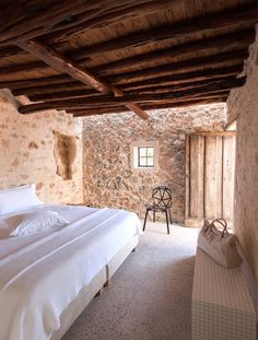 """From a ruin of an old agricultural farm about three hundred years old, located at a place called """"Can Bassó"""" near Santa Eulalia del Rio in Ibiza, Anne Dimmers Italian Interior Design, Rustic Home Interiors, Mediterranean Home Decor, Mediterranean Architecture, Italian Home, Tuscan Decorating, Decorating Tips, Stone Houses, House In The Woods"""