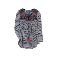 Ezra Cuballa Blouse {Stitch Fix}- love everything about this... Pattern, cute back, embroidered detailing. Plus, my son's name is Ezra and it would be so fun to have a shirt with his name