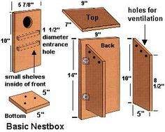Instructions for building a basic nesting box. More at website for different birds.