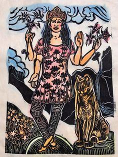 I wish I had 4 arms and a cool mountain lion to protect me, Colorado Laxmi w mountain lion contemporary goddess Lakshmi w columbine flowers Columbine Flower, Todays Comics, Mountain Lion, Hindu Art, I Wish I Had, Buddhist Art, Calvin And Hobbes, Comics Online, Durga