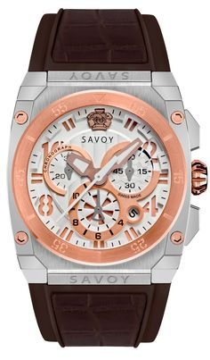 SAVOY WATCHES. ICON MIDWAY CHRONOGRAPH TWO-TONE STAINLESS STEEL CASE & ROSE GOLD BEZEL. $990.00 Swiss Made Watches, Modern Watches, Stainless Steel Case, Chronograph, Rose Gold, Shopping, Accessories, Clock, Bracelet