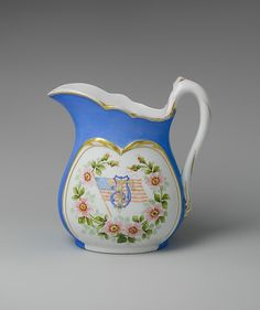 Greenwood Pottery Company   Pitcher   American   The Met Pitcher  Manufacturer:Greenwood Pottery Company (American, Trenton, New Jersey, 1861–1933) Date:1868–86 Geography:Made in Trenton, New Jersey, United States Culture:American Medium:Porcelain, overglaze enamel decoration and gilding Dimensions:H. 9 1/2 in. (24.1 cm); Diam. 9 in. (22.9 cm)