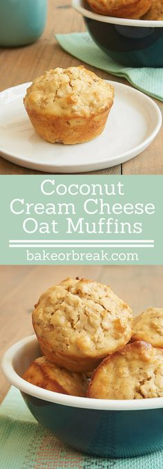 Toasted coconut adds lots of flavor to these sweet, hearty Coconut Cream Cheese Oat Muffins. One of my favorite muffin recipes! - Bake or Break ~ http://www.bakeorbreak.com