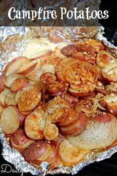 Wrap sliced potatoes, minced garlic, and onions in tin foil and let your campfire do the rest.