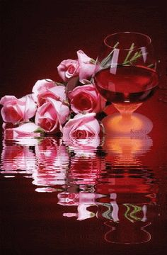 Animated Gifs, Animated 3D, Flores, Water Reflections, Reflections, Reflection, Animated Gif, Animated Graphics. Beautiful Flowers, Flowers. Roses, Animations, Keefers Pictures, Images and Photos