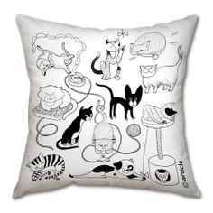 Pillow cushion - Catomania - our collaboration with a famous Ukrainina illustrator Olga Degtjareva. €30.00, via Etsy.