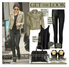 """""""Get the Look: Kendall Jenner"""" by helenevlacho ❤ liked on Polyvore featuring J Brand, IRO, Versace, H&M, Givenchy and Ray-Ban"""