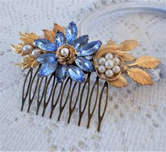 Bridal Hair Accessories, Bridal, Wedding, Floral Hair Comb, Blue Hair Comb, Something Blue, Assemblage Hair Jewelry, Collage Hair Comb, Rhinestone Hair Piece, Gold Leaf Hair Comb by LisamariesPiece