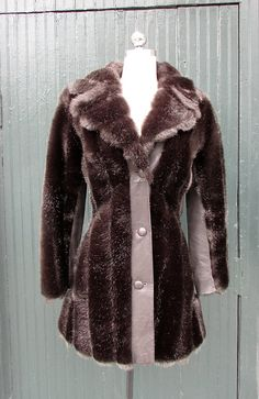 Vintage 1970's Faux Fur and Leather Black Coat by lovestreetsf