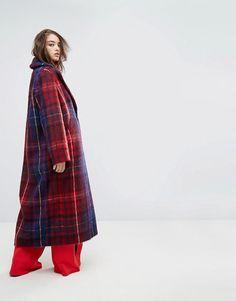 Gigi Hadid Oversized Plaid Wool Coat