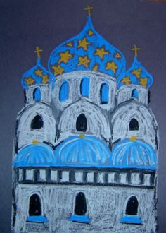 St. basil's Cathedral Russian Architecture lesson with oil pastels onion dome art lesson project elementary