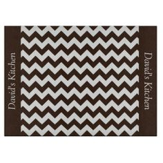 Chocolate Brownie Brown Chevron Cutting Board ..............This design features a Chocolate Brownie Brown pattern. The TEXT on both sides (left and right) can be customized with your own name. Check out my store for more colors.
