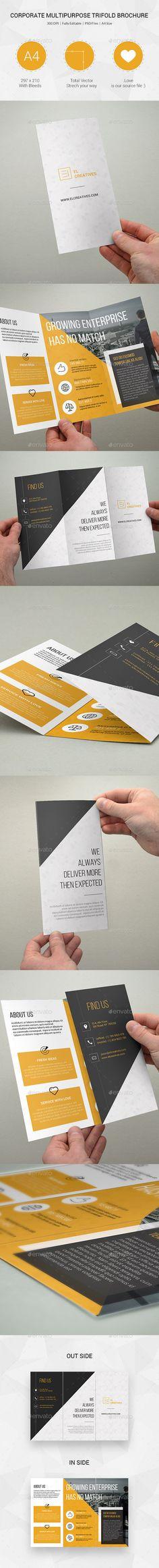 Corporate Multipurpose Trifold Brochure Template #printdesign #design Download: http://graphicriver.net/item/corporate-multipurpose-trifold-brochure-12/12071622?ref=ksioks