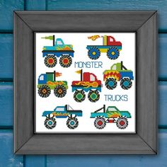 Monster Trucks Rule! Richly detailed and colorful pattern for the monster truck lovers in your family!      Mini Cross Stitch Pattern: Monster Trucks Mini Collection