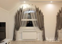 The Most Effective Solutions to Your Bay Window Curtains – Bedroom Ideas – Bedroom Decoration Diy Bay Window Curtains, Curtains For Arched Windows, Home Curtains, Window Valences, Hanging Curtains, Rideaux Du Bow Window, Arched Window Treatments, Rideaux Design, Diy Curtain Rods