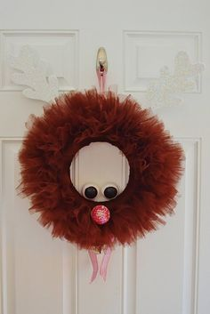 Christmas Rudolph the Red Nosed Reindeer Wreath, Christmas Tulle Wreath, Christmas Wreath, Tulle Wreath, Reindeer Wreath