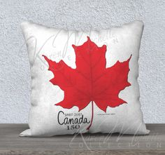 CANADA 150 - Commemorative Pillow Cover - Red Maple Leaf  on Natural White