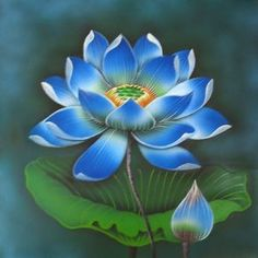 Paintings of Flowers | ... bali fountain bali painting flowers paintings lotus blue flower
