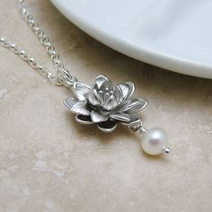 Wedding Jewelry Lotus Necklace with Pearl on by RoseAndRaven.