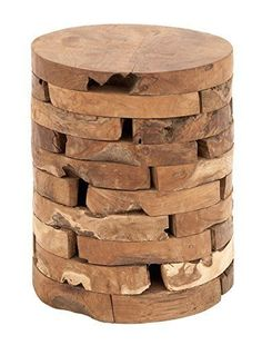 Teak Wood Stool 14 by 18 Inch Hand Craft Seat in Indonesia Home Decor  #DecoSeventyNine