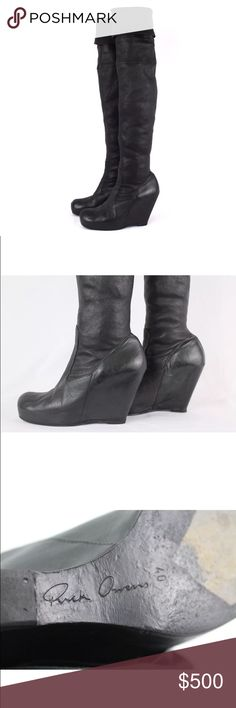 RICK OWENS Black Wedge Thigh High Boots US 10 Rick Owens Thigh Wedge Boots • Absolutely stunning pair of boots • 100% lambskin leather • Hidden wedge heel • Come with non brand dustbag • Made in Italy  Approximate measurements • 30 inches from base to top seam • 5 inches for hidden heel height • 3.25 inches wide at widest part of sole   Condition  • 7/10 • These show signs of wear on sole, sides, and front seam, please study pics closely • Back heel was professionally replaced Rick Owens…