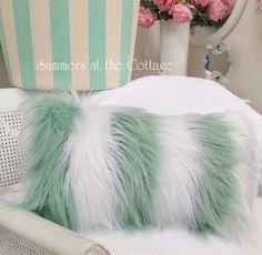 Buy Trendsetting chic light and breezy cabana stripe sage green and white stripes Mongolian fur accent pillow for a beach cottage coastal home. Cottage Style Bathrooms, Beach Cottage Style, Cottage Chic, White Wicker Chair, Fur Pillow, Cottage Furniture, Chic Bedding, How To Make Pillows, Cabana