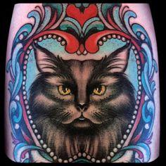 girly cat tattoo instagram- @Jessi_Lawson_Tattooer  www.JessiLawson.com