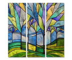 Metal Art Set of 3 Modern Home Decor Abstract Wall Sculpture Stain Glass Trees in Art, Direct from the Artist, Sculpture & Carvings   eBay
