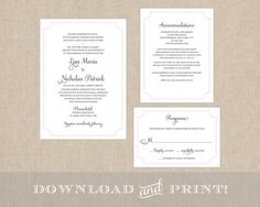 This listing is for a printable wedding set including:    5 x 7 Wedding Invitation  5 x 3.5 RSVP Card  4.25 x 5.5 Details Card    The Process:
