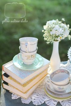 Yellow Suitcase Studio: Sisters Tea Party Photo Shoot books and and colorful tea cups