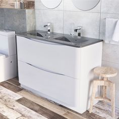 View the Erin Wall Hung Vanity Unit in Gloss White & White Glass Basin here at Easy Bathrooms. View our wide range of bathroom vanity units with fast delivery. Corner Vanity Unit, Bathroom Vanity Units, Wall Mounted Vanity, Classic Bathroom Furniture, Bathroom Interior, Double Basin Vanity Unit, Small Kitchen Sink, Glass Basin, Basin Sink