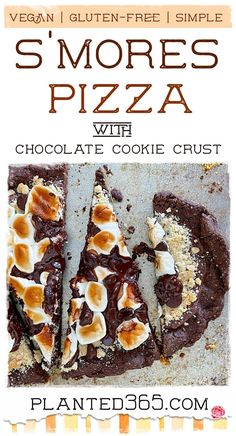Smores Pizza with Sweet Chocolate Cookie Crust V, GF | Planted365 Vegan Dessert Recipes, Vegan Sweets, Easy Desserts, Gluten Free Recipes, Whole Food Recipes, Delicious Desserts, Vegetarian Recipes, Vegetarian Cooking, Easy Recipes