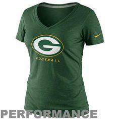Nike Green Bay Packers Ladies Legend Logo Performance V-Neck T-Shirt - Green