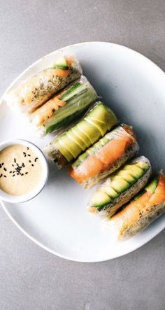 This Summer Rolls with Smoked Salmon, Avocado, and Sesame Miso Dip recipe is featured in the Dumplings, Egg Rolls, Spring Rolls + More along with many Easy Summer Meals, Healthy Summer, Healthy Spring Rolls, Vegetarian Spring Rolls, Food For Summer, Vegetarian Recipes, Cooking Recipes, Healthy Recipes, A Food
