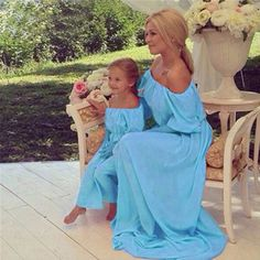 2017 Summer New Parent-Child Outfit Long Dress Children Off-The-Shoulder Elegant Generous Europe Style Mother Kids Clothes DC272