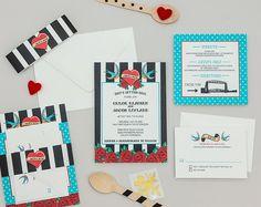Retro Rockabilly Wedding Invitation Template,Modern Tattoo Wedding Invite Digital Download,Heart and Swallow Wedding Printable Invitation