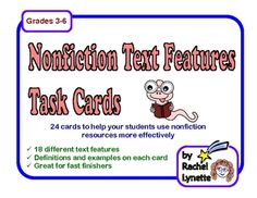 Use these 24 Nonfiction Text Feature Task Cards as a supplemental activity to increase your students' understanding and to help them to use nonfict...