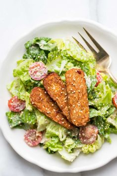 Vegan Caesar Salad made with a cashew-less dressing and baked tempeh strips - so easy and SO delicious!