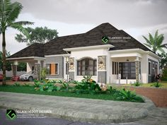 4 bedroom bungalow design with a garage attached. For inquiries Call 07062860533 WhatsApp 08063464475 Two Story House Design, House Front Design, Garage Design, Modern House Design, Modern Bungalow House, Bungalow House Plans, Duplex House, Beautiful House Plans, Simple House Plans