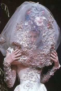 Christian Lacroix Haute Couture wedding dress 1996 thats my type of veil Couture Details, Fashion Details, Look Fashion, Fashion Art, Vintage Fashion, Fashion Design, Crazy Fashion, Christian Lacroix, Fru Fru