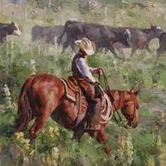 """West Texas Wrangler"" 14x14 inch oil. by Jason Rich"