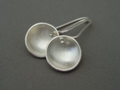 Radar Dish Sterling Silver Drop Earrings by TheSilverForge on Etsy, $69.00