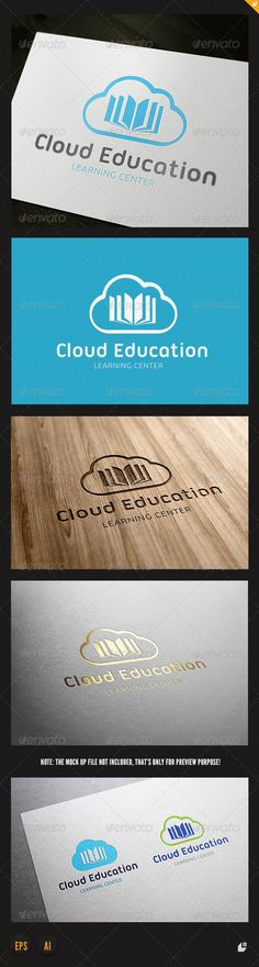 Cloud Education Logo — Vector EPS #teacher #book