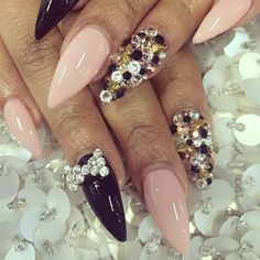 rhinestone and stud stiletto nails by laque nail bar