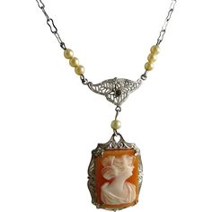 Art Deco Rhodium Filigree Cameo Lavalier Necklace