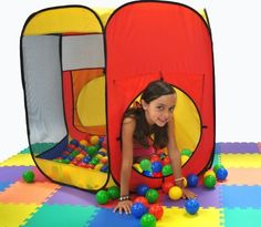 """Most Popular Play Tent: Premium JUMBO Size Six Sided Hexagon EZ Twist Tent w/ Ball Stopper & Tote Bag by Wonder Tent. $36.50. Note: This order does NOT come with any play balls!. Dimensions: Tent: 48"""" L x 41"""" W x 38"""" H (inches) with Blue, Red, and Yellow sides. Hexagon theme play tent with a carry bag. Play balls, hampers, and mats sold separately.. Three opening options; front and back side opening with top opening for enhancing distance-shooting coordination with play. Meshi..."""