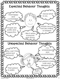 Expected/Unexpected behavior worksheet. These words are